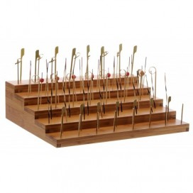 Presentador escalera bambú 4 uds