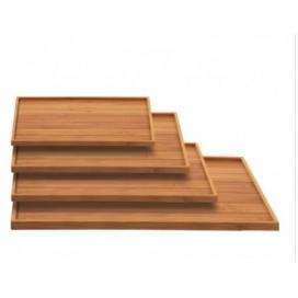 Bandeja bambú maciza 25 uds