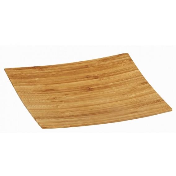 Plato cuadrado buffet bambú 20 uds